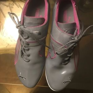 Puma Lo Cat Sneakers Size 9.5 Grey/ PurpleFuchsia